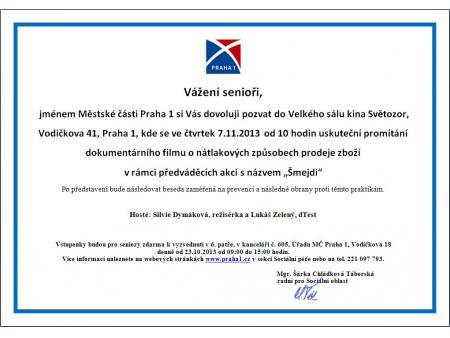 """Na """"Šmejdy"""" zdarma do Světozoru  30.10.2013  Městská část Praha 1 ve  spolupráci se společností Aerofilms ce64256ec5"""